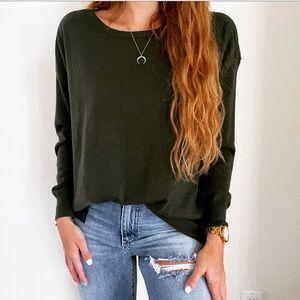 J. Crew Merino Wool Shoulder Zip Green Sweater